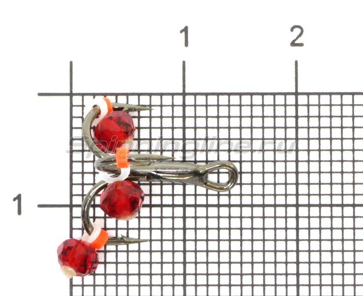 Тройник-подвеска с бусинами Кристалл красный №10 -  1