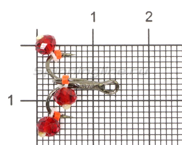 Тройник-подвеска с бусинами Кристалл красный №12 -  1