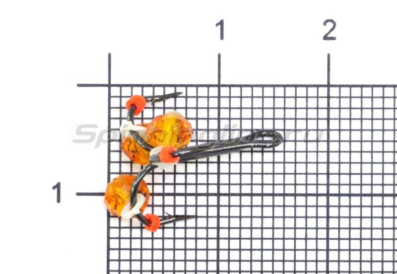 Тройник-подвеска с бусинами Кристалл оранжевый №10 -  1
