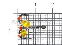 Тройник-подвеска с бусинами Кристалл желтый №8