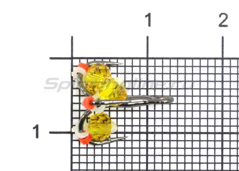 Тройник-подвеска с бусинами Кристалл желтый №12 -  1