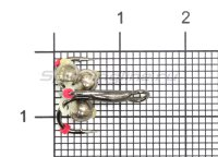 Тройник-подвеска с бусинами Шар латунь серебро 3,8 мм №10