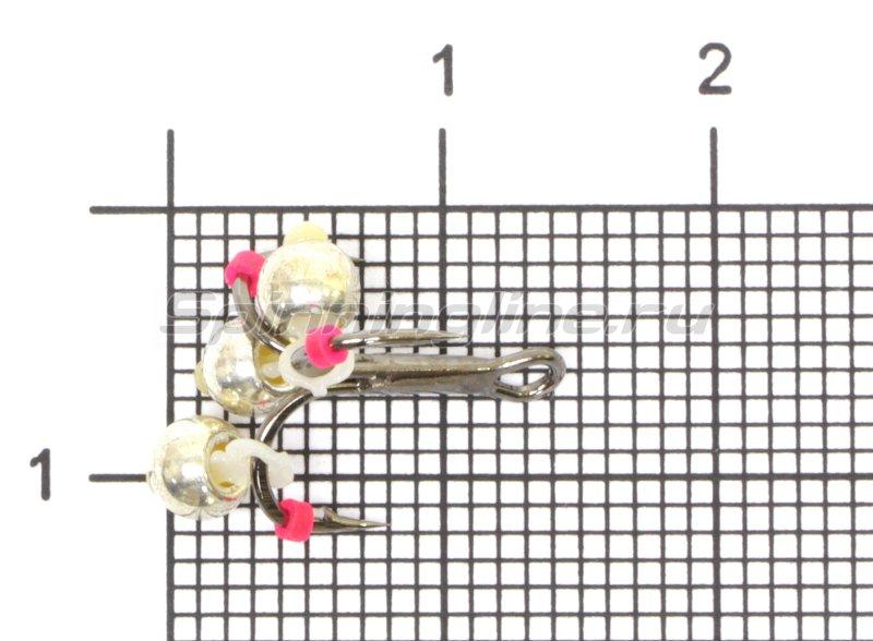 Левша-НН - Тройник-подвеска с бусинами Шар латунь серебро 3,8 мм №12 - фотография 1
