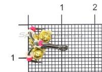 Тройник-подвеска с бусинами Шар латунь золото 3,8 мм №12