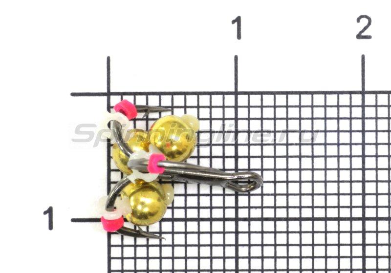 Тройник-подвеска с бусинами Шар латунь золото 3,8 мм №12 -  1