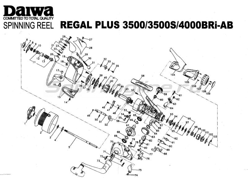 Daiwa - Катушка Regal Plus 3500 BRI- AB - фотография 5