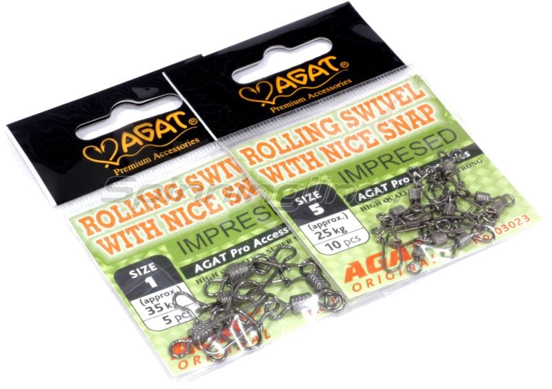 Agat - Вертлюг с карабином Rolling swivel with Nice Snap Impresed 3023 №1/0 - фотография 3