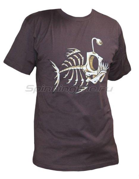 """Мир футболок - Футболка с рисунком """"Скелет рыбы"""" L коричневый - фотография 1"""