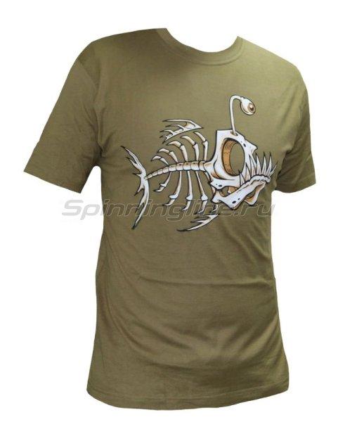 "Футболка с рисунком ""Скелет рыбы"" XL хаки -  1"