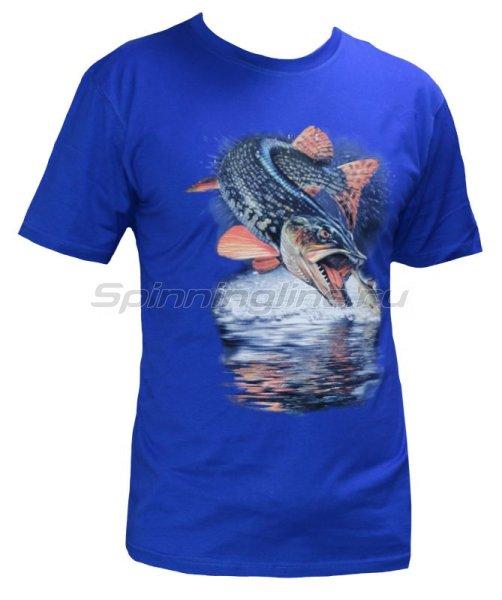 """Мир футболок - Футболка с рисунком """"Щука малек"""" S синий - фотография 1"""