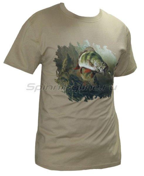"""Мир футболок - Футболка с рисунком """"3 Окуня"""" XXL хаки - фотография 1"""