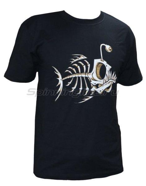 """Мир футболок - Футболка с рисунком """"Скелет рыбы"""" L черный - фотография 1"""