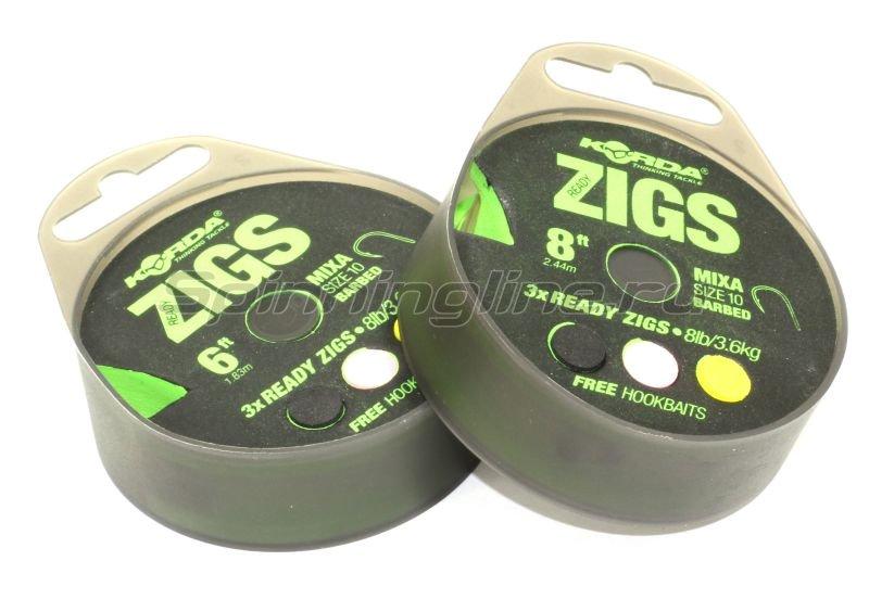 Поводок Korda Ready Zigs on spool 6 size 10 -  1
