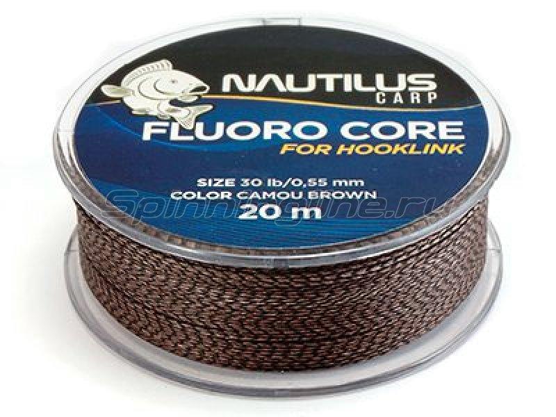 Nautilus - Поводковый материал Fluoro Core 20м 20lb camou brown - фотография 1