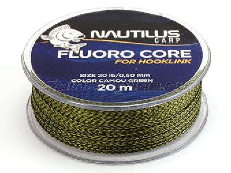 Nautilus - Поводковый материал Fluoro Core 20м 20lb camou green - фотография 1