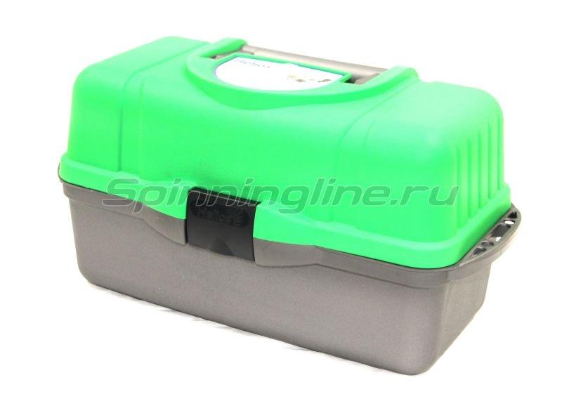 Ящик рыболовный трехполочный зеленый Helios -  1