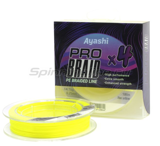 Ayashi - Шнур Pro Braid-X4 0,18мм fluo yellow - фотография 1