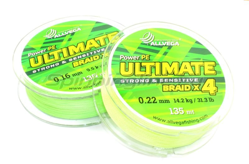 Шнур Ultimate 135м 0,14мм light green -  2