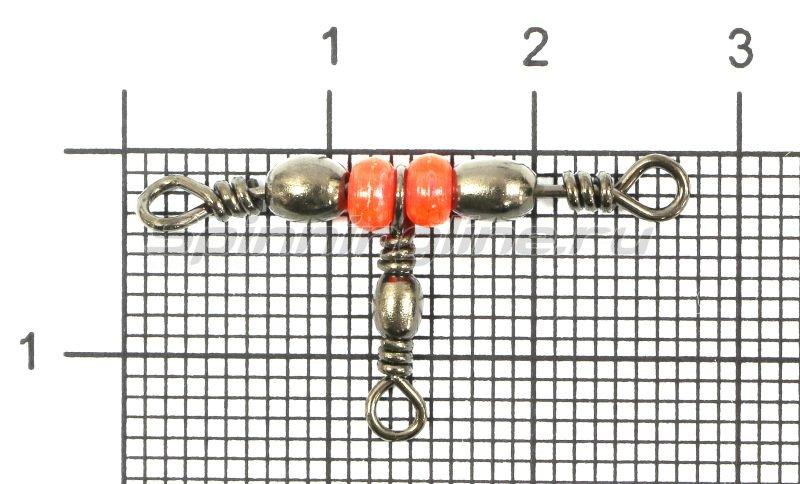 Metsui - Вертлюг Triple Swivel With Red Bead new black 10X12 - фотография 1