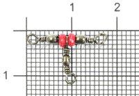 Вертлюг Metsui Triple Swivel With Red Bead new black 14X16