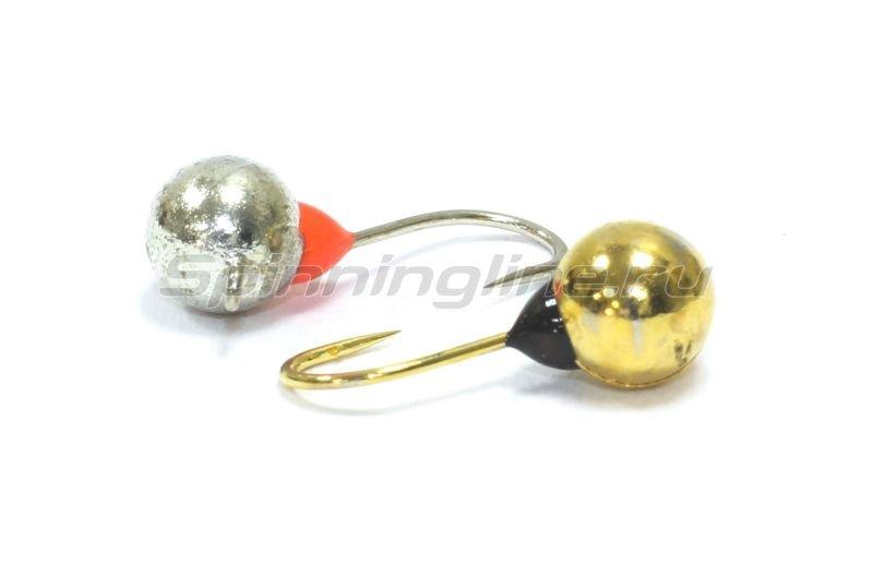 Nautilus - Мормышка Дробинка с наплывом с ушком d4 203-008 серебро, черный наплыв - фотография 2