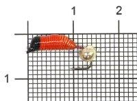 Мормышка Ручейник №5 d2 серебряный шар, красный