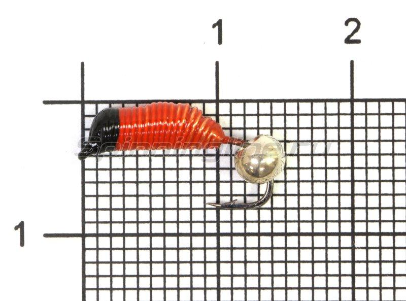 Мормышка Ручейник №5 d2 серебряный шар, красный -  1