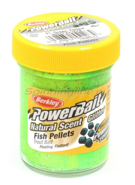 Паста Berkley Natural scent TroutBait Fish Pellet Fluo Green Yellow (рыбный пеллетс) -  1