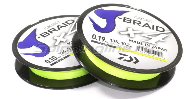 Шнур J-Braid X4 135м 0,15мм fluo yellow -  1
