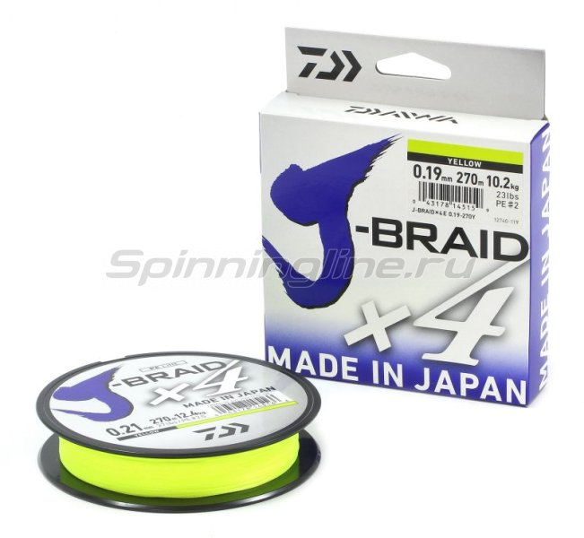 Шнур Daiwa J-Braid X4 270м 0.13мм fluo yellow -  1