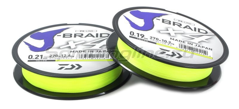 Шнур Daiwa J-Braid X4 270м 0.13мм fluo yellow -  2
