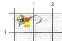 Мормышка Дробинка с подвесом с ушком d5 615-712 серебро, желтый подвес