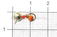 Мормышка Дробинка с подвесом с ушком d5 617-714 серебро, оранжевый подвес