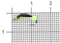 Мормышка Санхар Нимфа узкая №1 флуоресцентный шар зеленый, латунь