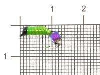 Мормышка Санхар Ручейник №3 d1.5 кубик хамелеон, салатовый