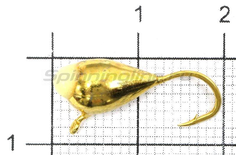 Мормышка Капля с ушком d6 золото с фосфорной каплей -  1