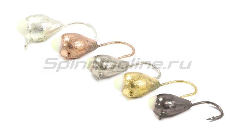 Мормышка Капля с ушком d6 золото с фосфорной каплей -  2