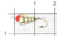 Мормышка LumiCom Личинка d5 граненая с отверстием серебро с красной каплей