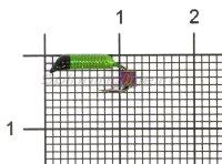 Мормышка Ручейник №1 d1 кубик хамелеон, салатовый