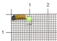 Мормышка Ручейник №2 d1.5 флуоресцентный шар зеленый, желтый