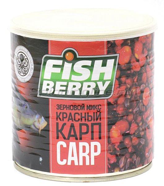 Зерновая смесь Fishberry Сергея Попова Зерновой микс Карп Красный клубника 430 мл -  1