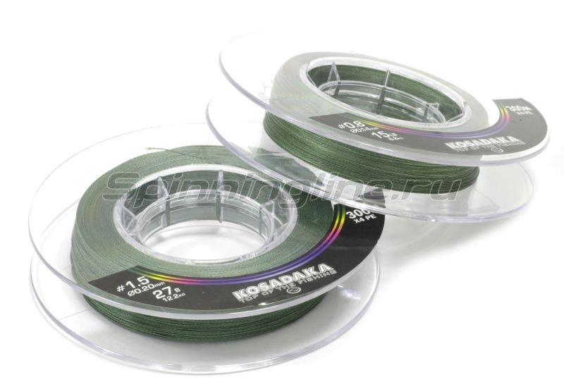 Шнур Kosadaka Super Line PE X4 300м 0,12мм Dark Green -  1