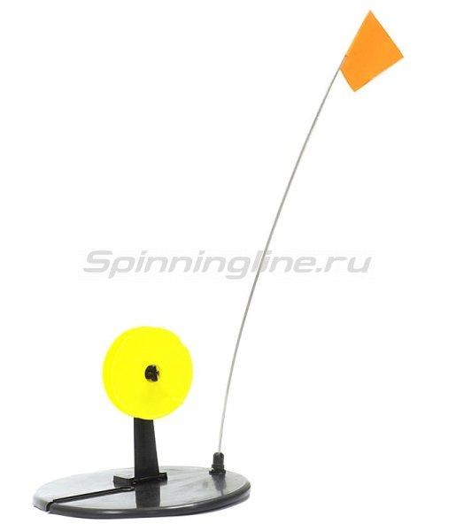 Жерлица Три Кита с прямой стойкой с желтой катушкой -  1