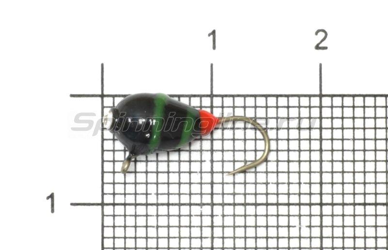 Мормышка Рыболов-Олта Капля с ушком и стразом d5 черный/зеленый/красный -  1