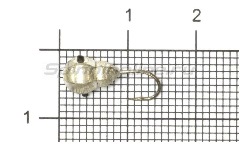 Мормышка Рыболов-Олта Личинка с отверстием и кембриком d5 серебро -  1