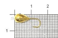 Мормышка Рыболов Капля с отверстием d6 золото