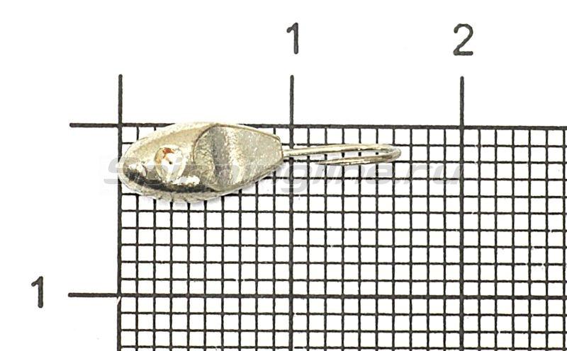 Мормышка Рыболов-Олта Уплощенная овсинка со скосом с отверстием d4.5 серебро -  1