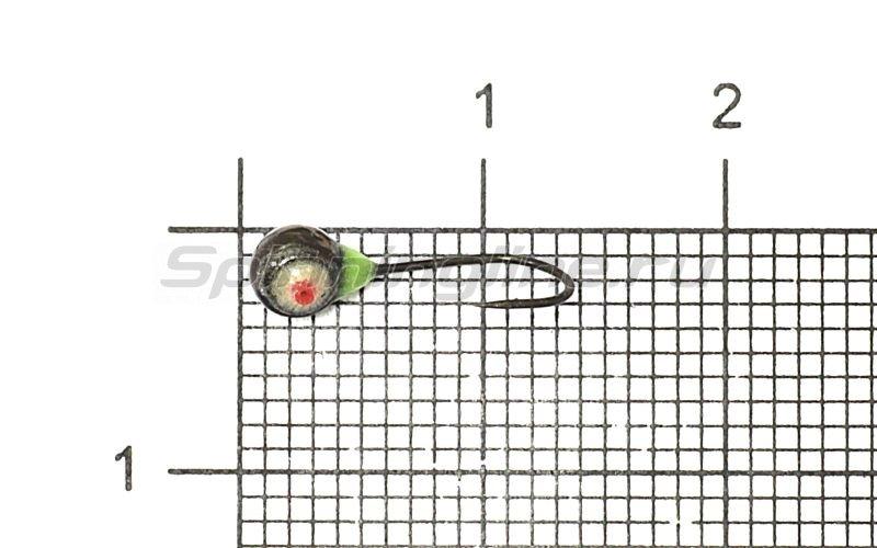 Мормышка Рыболов-Олта Полусфера с фосфорной заливкой с отверстием d4 черный никель -  1