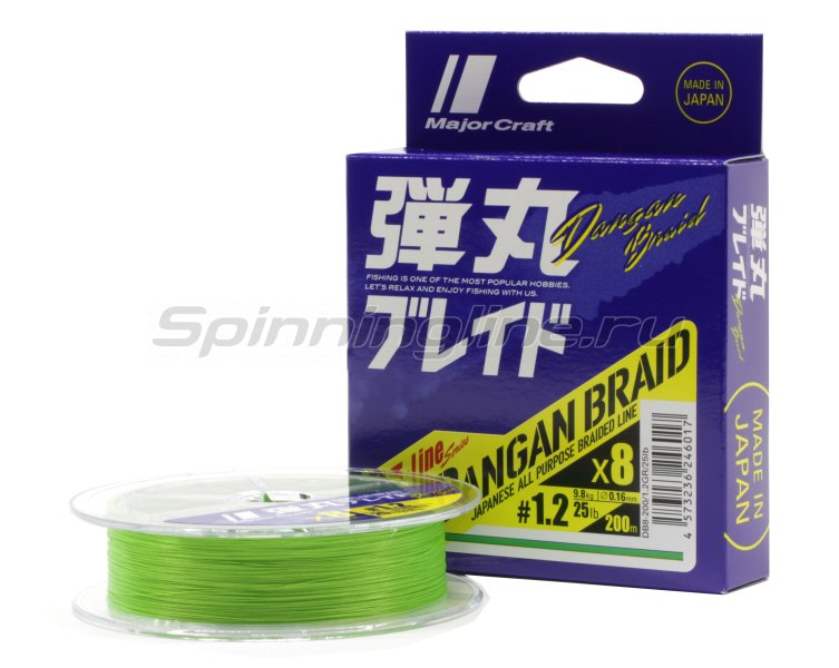 Шнур Major Craft Dangan Braid X4 200м 1.2 зеленый -  1
