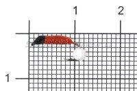 Мормышка Ручейник №1 d1 белая бусина, красный